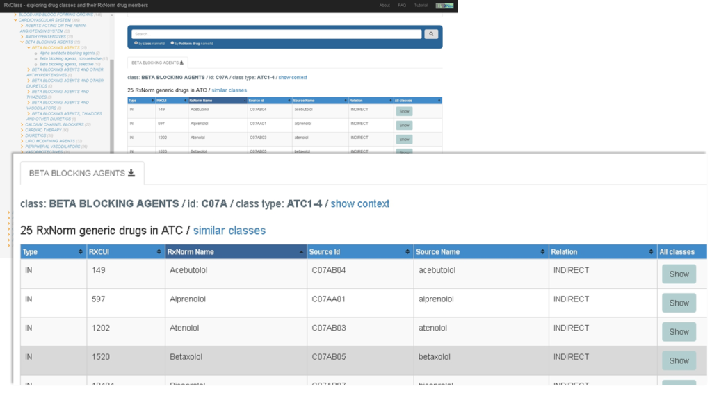 "Screen capture showing an example of the RxClass tool dsplaying results for ""beta blocking agents."""