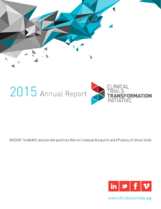 Cover page of CTTI Annual Report with embedded link to CTTI webpage containing report.