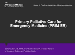 UH3 Project: Primary Palliative Care for Emergency Medicine